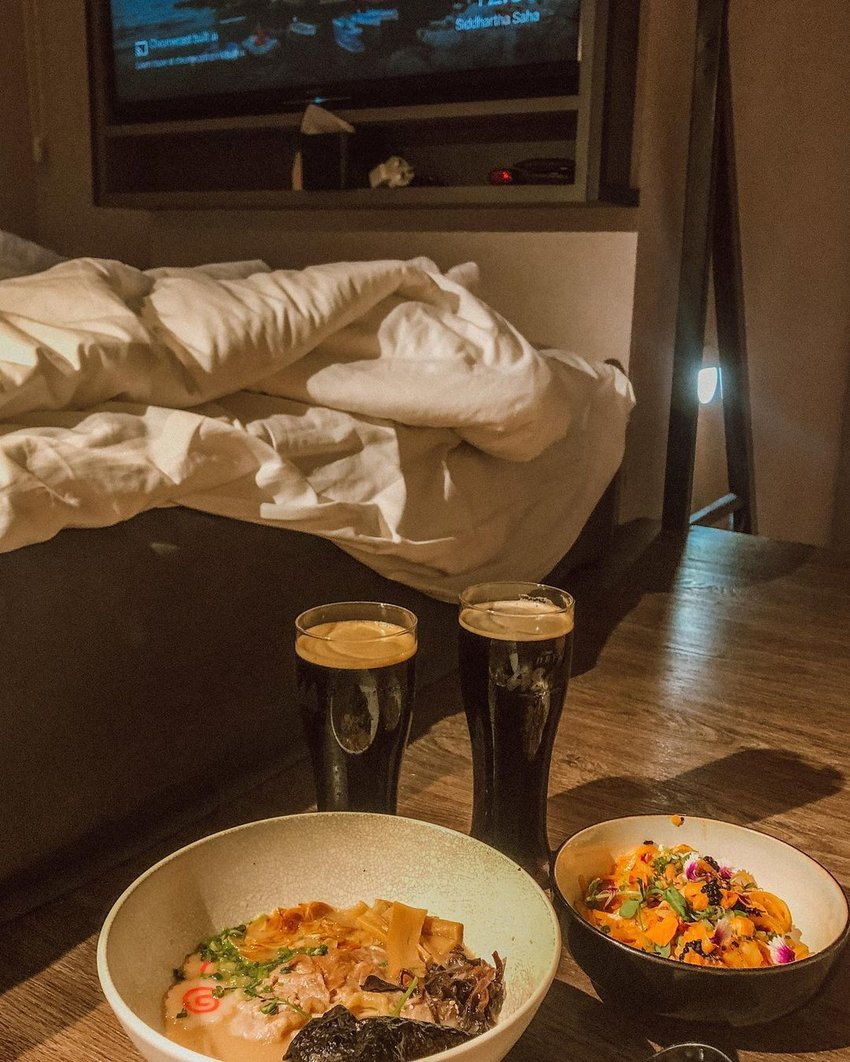 stout and japanese food