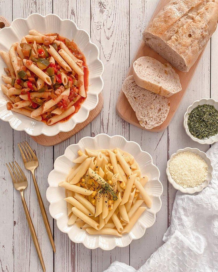 penne pasta flatlay