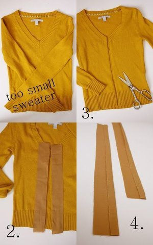 Turn a too-small sweater into a cardigan: | 20 Easy Tricks For Improving Vintage Clothes (found on pinterest.com)
