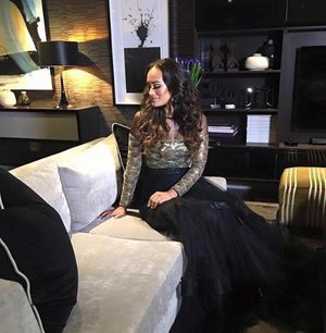 The gorgeous Jo-Ann Strauss wearing a couture gown from us on Top Billing.