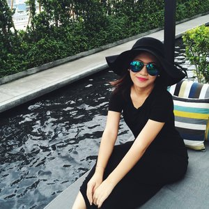 Soaking up the sun at our hotel's rooftop in BKK!