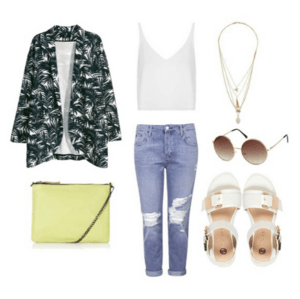 CASUAL CHIC 1. wide cut jacket- H&M 2. leather chain cross body bag- TOPSHOP 3. cropped plunge cami- TOPSHOP 4. blue ripped hayden jeans- TOPSHOP 5. multi-row charm necklace- TOPSHOP 6. sunnies- H&M 7. white snake print chunky cleated sandals- RIVERISLAND