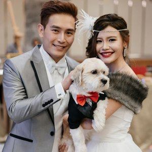 Happy with what I have and what I will have ❤️ Happy 1st anniversary my love. Throwback to our first march in with my little baby 🐶👰🏻🤵🏻 #AwMayzingJourney #jamesnmaybel