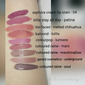 Swatches of the @colouredraine matte lip paints and some others market favourites!  Hope this is helpful!😀 #clozette #lipsticksnblushes #lipstickjunkieforever #colouredraine #swatches #gerardcosmetics #stilacosmetics #colourpop #dupethat #toofaced #sephora #katvond #trendmood #igsgbeauty #igsgmakeup #sgblogger #sgbeauty #sgmakeup #lipstickjunkie #lipstickhoarder #hudabeauty #thelipstickduchess #iggers