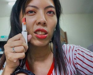 Can't resist not to apply lipstick on my face. Since there is no more lips for me to apply, might as well use it as eye shadow!! It looks like I was punched in eye, but its really nice in real life!! The colour is much more intense, highly pigmented and long lasting. The downside is it also take a long time to remove eye shadow make up. #bored #red #lipstick #laneige #clozette