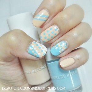 Going dotty over polka dots this evening with my Nature Republic pastel nail colours :D