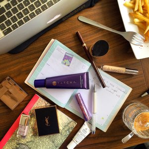 A Sunday well spent brings a week of content 💜   On the table: Urban Decay Naked Skin Concealer & Sheer Revolution Lipstick | Tatcha Hand Cream | Dior Nail Polish Pied de Poule | Kiehl's Clearly Corrective Dark Circles Perfector
