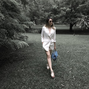 Wearing a favourite blazer overall. Chic and sleek only by Love bonito.