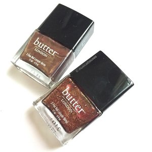 Two more additions to my already growing @butterlondon #nailpolish family! These are Trifle (top) and Brown Sugar (bottom). Bought these from @sephorasg - I realized that I actually bought Trifle before :X I need to remember what I have, but it's hard with a stash as big as mine lol! #Clozette #beauty #makeup