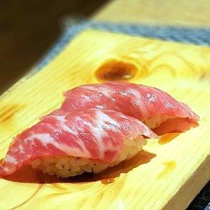 Awesome Wagyu Beef Sushi at Niku Kappo, bringing a different slice of Japanese cooking style.  #clozette  #foodspotting #iweeklyfood #fooddaddict #foodgasm #foodpic #sginsta #sgeats #foodshare #nomnom #igersgs #foodporn #yummy #foodsg #burpple #sgfood #sgfoodbloggers #sgfoodies #igfoodies #cooljapan #japanesefood #Wagyu #beef #sushi