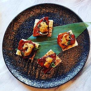 Decadent dish of pan seared Foie Gras on Toast topped with Uni at Kabuke Restaurant.  #clozette  #foodspotting #iweeklyfood #fooddaddict #foodgasm #foodpic #sginsta #sgeats #foodshare #nomnom #igersgs #foodporn #yummy #foodsg #burpple #sgfood #sgfoodbloggers #sgfoodies #igfoodies #cooljapan #rice #uni #foiegras #japanesefood
