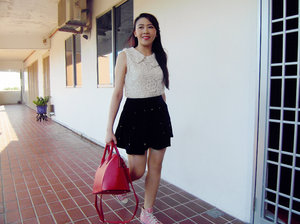 I love casual style, especially while matching my favourite lace collar top top with skater skirts. Everytime when I shop for new clothes, lace is always the first thing that caught my attention to take a look at the outfit. I don't really like to accessorize my style. I'm either only with my favourite Baby-G watch (which I've been wearing it for 8 years), or my all time favourite personalized necklace with my name on it. I always try avoid to wearing heels because I prefer sneakers or platform sandals! The one I'm wearing is be favourite pink Converse high tops sneakers! Hope everyone love this simple style as I am.