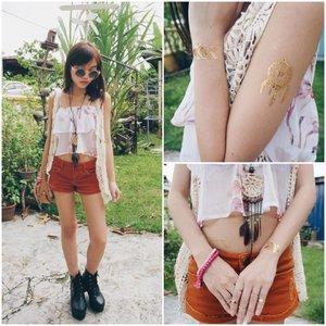 Spring/summer 2015 is all about the Bohemian vibe. For this look, I decided to go boho chic. It's all about looking casual yet put-together at the same time. I have on a chiffon floral top and layered a thin crochet vest over it. Paired with rustic brown shorts, leather bag, big round shades and ankle boots, it makes the outfit more Coachella-inspired. I tied the whole look together with the lovely dreamcatcher necklace and tassle beaded bracelets. Lastly, stack up on 'em midi rings! For areas where I'm showing off some skin, I placed the flash tats there to make it a little more sexy and fun. The whole look is just so light and easy-going!