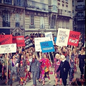Chanel shows us how to protest in style. Make fashion not war. #chanel #ss15 #clozette
