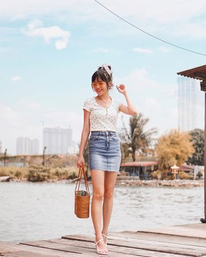 Fully decked in @cottonon_asia; especially loving this comfy top + classic denim skirt! 💖 Exploring Tan Jetty in Penang ✨ // #MyCottonOn #CottonOnCrew #CottonOn