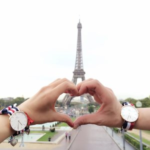 With my love. In The City of Love. The City of Lights. Special thanks to @Danielwellington for the couple watch! 🇫🇷