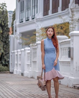 Found the perfect modest Cheongsam with a subtle oriental flare for the ongoing CNY festivities~  I love how the pastel tones & pretty mermaid hem add an interesting twist to a traditional piece like this!!! 💙💕 #JOOPSG  #JOVETSG #JOOPBoutique #ChezVousHair #Clozette #JanAdverts