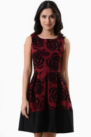 Flock Print Skater Dress   http://www.iclothing.com/roisin-flock-print-skater-dress