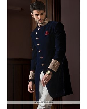 We have a very special dress for men's that is Eye-Catching Oxford Blue Jacket Style Achkan Set full of till work. We have used Velvet and Silk fabric to enhance the beauty of dress. Visit our online store to make this beautiful dress of yours.