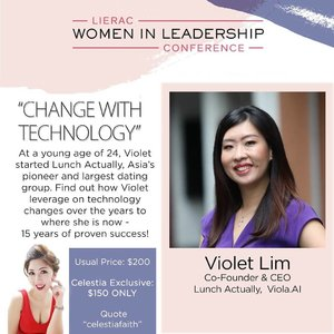 She has been putting couples together as the successful co Founder of Lunch Actually. Listen to what Violet has to say about Change with Technology along with other topics and speakers involving Change.  Celestia's Exclusive Promotion: $150 (U.P. $200!) https://www.eventbrite.sg/e/women-in-leadership-conference-by-lierac-tickets-58979576501 (click link at bio)  For more information, please visit http://www.lieracwomeninleadership.com.  #lieracsg #empoweryourbeauty #womanpower #AsiaOneMostPromisingPersonality2018 #MrsChinatownInternationalAllNation2018 #MrsBeautifulSkin2018 #MrsChinatownSingapore2018 #celestiafaithchong  #beautydeconcierge #beautyconcierge #aesthetic #cosmeticsurgery #plasticsurgery #imageconsultant #marketer  #msbabelovebebes #influencer #imagecoach #clozette #starclozetter #baseentertainmentambassador