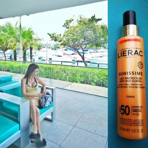 Getting all ready for my yacht expedition! Can't miss out the sun protection to keep me against the harm on my aging skin.  I'm so thankful to have Lierac Sunissime Protective Fluid Global Anti-Aging SPF 50+ acts on the visible signs of aging while protecting your skin from the harmful effects of the sun in my bag for occasion like this.  I love the sweet buttery smell and easy spray application.  You can purchase this at My Beaute Paris 2 Orchard Turn, B3-49/50 ION Orchard, Singapore 238801  #lieracsg #mybeauteparis #sunprotection #SWASEventsDigitalMarketingChairperson #AsiaOneMostPromisingPersonality2018 #MrsChinatownInternationalAllNation2018 #MrsBeautifulSkin2018 #MrsChinatownSingapore2018 #celestiafaithchong  #beautydeconcierge #beautyconcierge #aesthetic #cosmeticsurgery #plasticsurgery #imageconsultant #marketer #clozette #starclozetter #influencer #sgbloggers