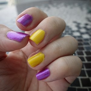 My gal told me that colors on the opposite sides of the color wheel work well together so I decided to give violet and yellow a go! #Clozette #clozetteid #nails
