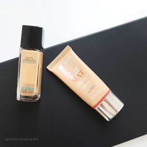 Two drugstore foundations that I actually love. And they come in my shades! @maybelline Poreless Fit Me Foundation (Shade 332) & @bourjoisparis Air Matte Foundation (Shade 5) 👍🏼 . . . #clozette #makeup #flatlay #makeupsg #sgmakeup #instamakeup #makeupporn #makeupjunkie #beauty #sgbeauty #igsgmakeup #instabeauty #beautytalk #makeuptalk #makeupflatlay #drugstore #affordable #cheapbutgood