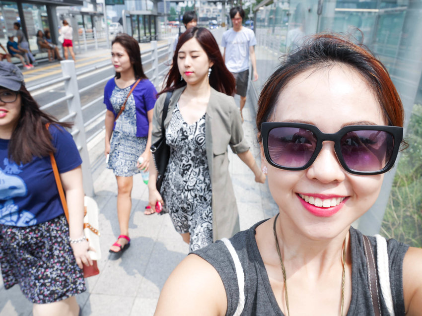 Selfie before we conquer Myeong Dong Shopping street!!