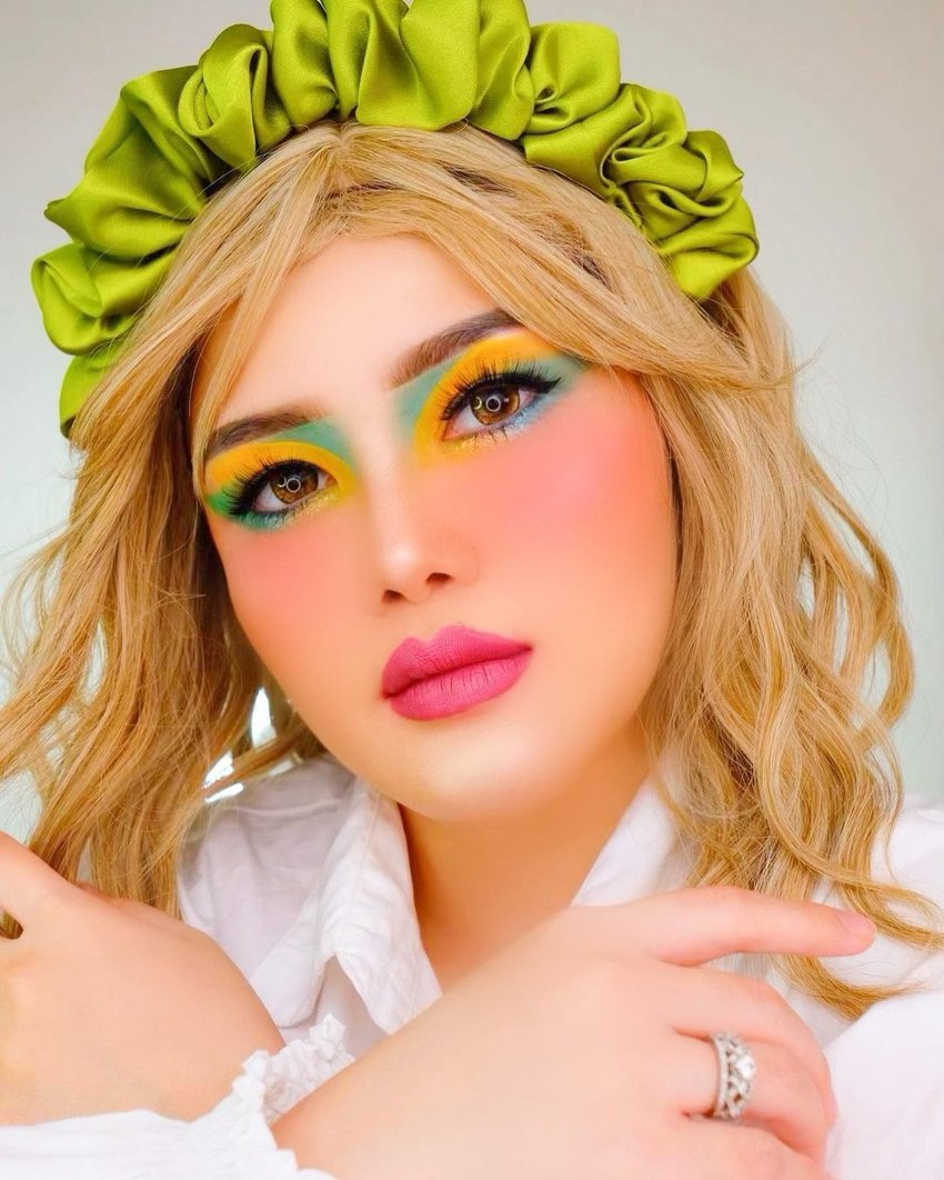 Girl with colourful makeup