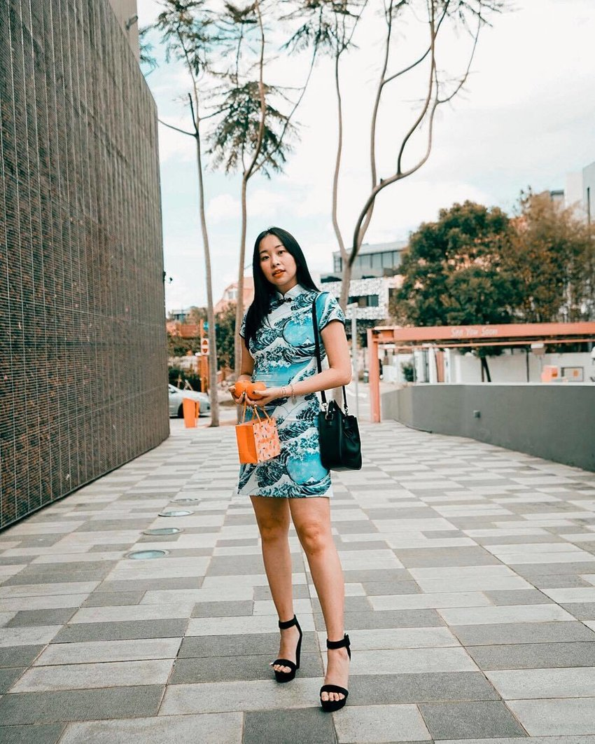 cheongsam with japanese great wave design