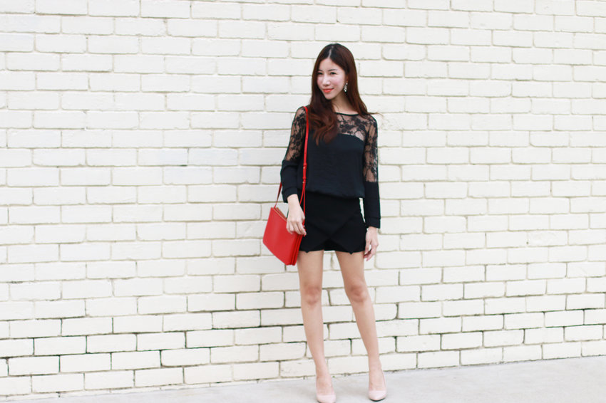 Gorgeous white brick wall backdrop makes any black outfit pop.