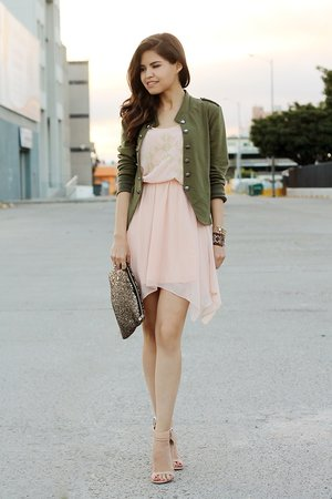 blush and army green