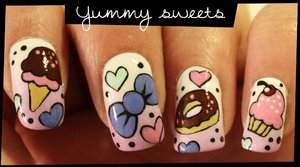 Super cute nails! I love them. Shall try this soon   Yummy Sweets nail art - YouTube