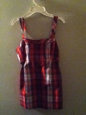 Plaid form fitting thick straps preppy