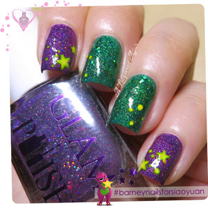 Barney-inspired nails with Glam Polish Maleficent and Conjuring.