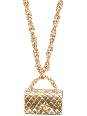 CHANEL VINTAGE Quilted Bag Necklace