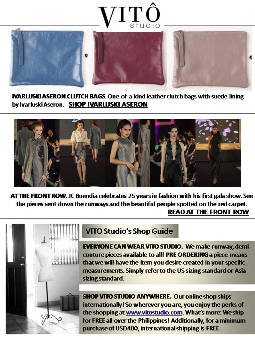 Ivarluski Aseron Clutches Bag. Shop now @ http://vitostudio.com/shop/en/15-ivarluski-aseron  At Front Row. JC Buendia celebrates 25th years in fashion. Read on @ http://vitostudio.com/front-row-cinema-buendia/  VITO Studio's Shop Guide. Read more @ http://vitostudio.com/shop/en/how-to-measure.php