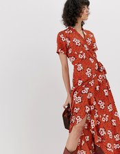 Pieces floral wrap maxi dress-Orange