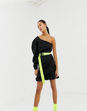COLLUSION one shoulder dress with neon belt