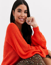 Brave Soul Petite harrio sweater in orange