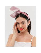 ASOS DESIGN fascinator headband with statement bow in dusky pink
