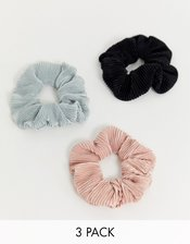 ASOS DESIGN pack of 3 plisse scrunchies in neutral tones-Multi