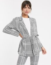 ASOS DESIGN jersey check wrap belted suit blazer-Multi